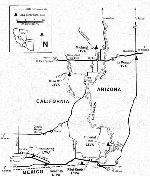 Map of BLM LTVA areas around Quartzsite