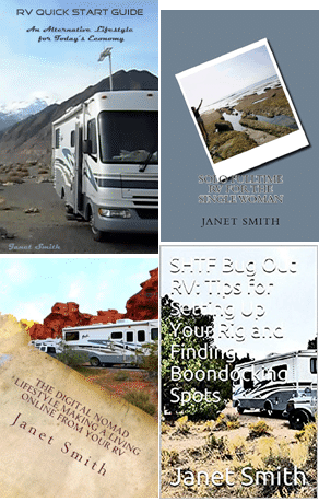 paperback and digital books on fulltime rving, boondocking, RV safety, and earning a living on the road